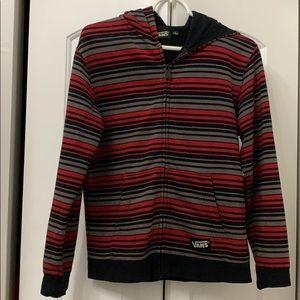 Vans Striped Logo Hoodie Jacket Zip Up L